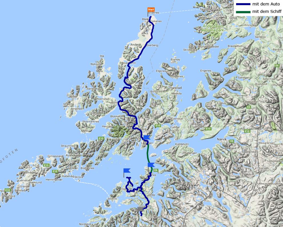 Tagestrecke Andenes – Tranøy- Tømmerneset