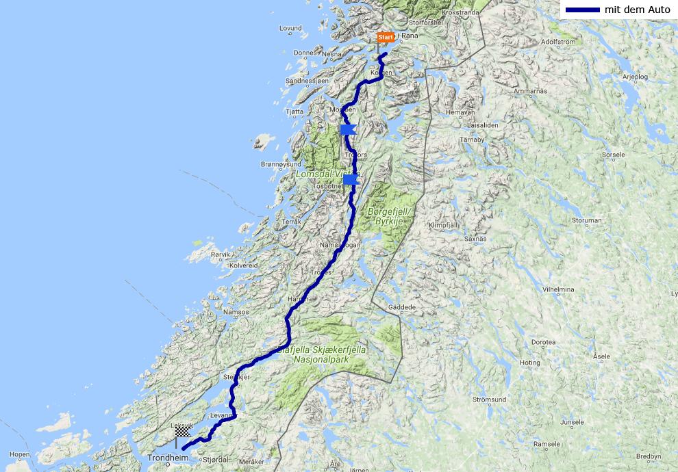 Tagesstrecke Yttervik - Frosta