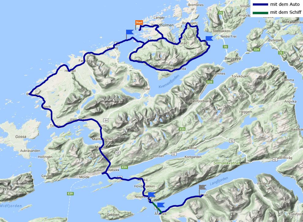 Tagesstrecke Ljøsøa - Langfjorden