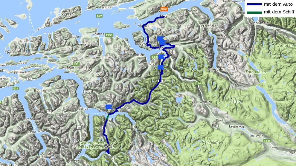 Tagestrecke Langfjorden - Geirangerfjord