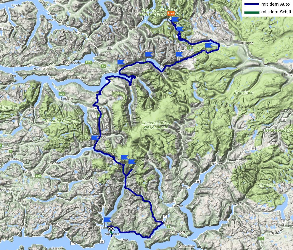 Tagesstrecke Geiranger - Sognefjord