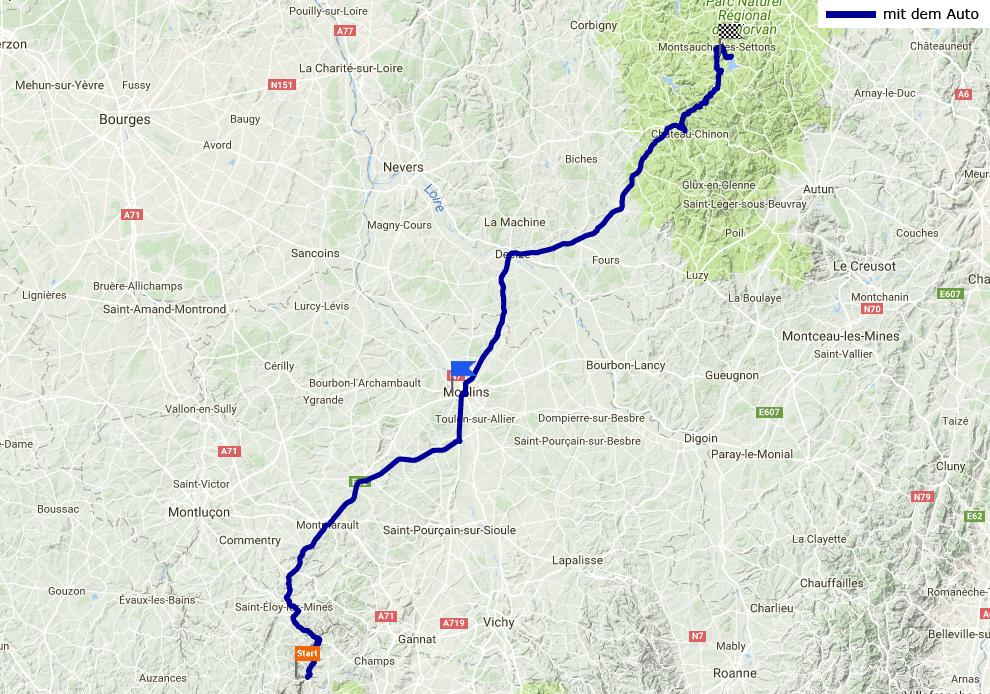 Tagesstrecke Châteauneuf-les-Bains - Lac des Stettons